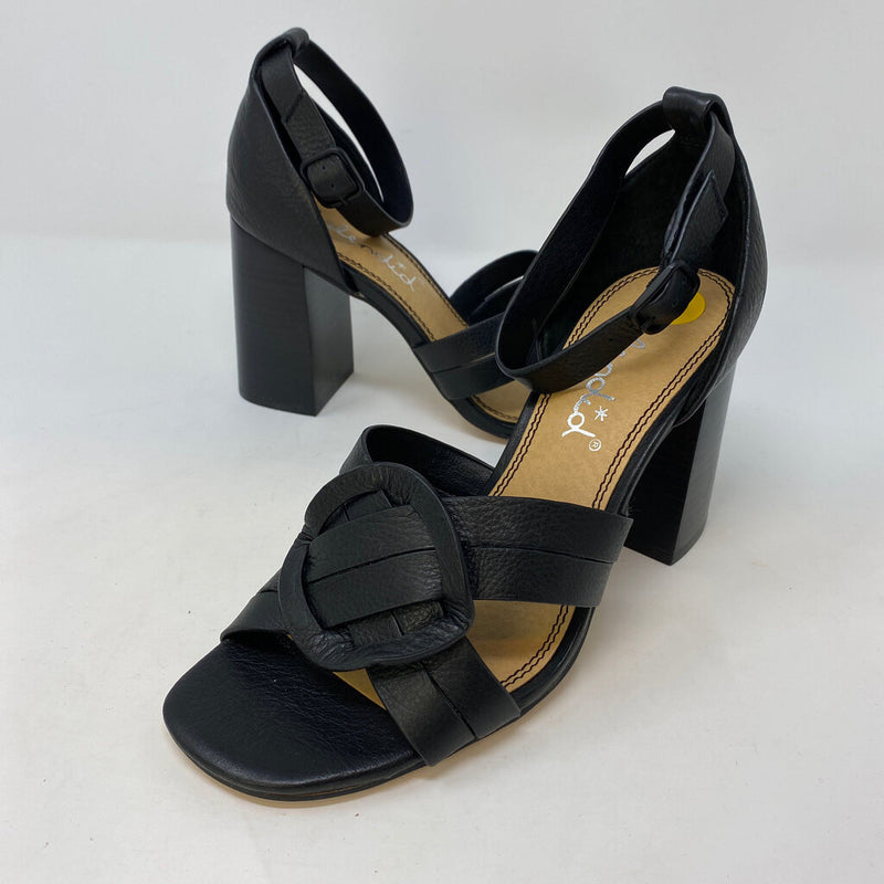 new leather block heel circle toe