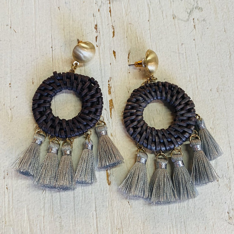 woven multi tassle earrings
