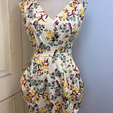 bird print self belted dress