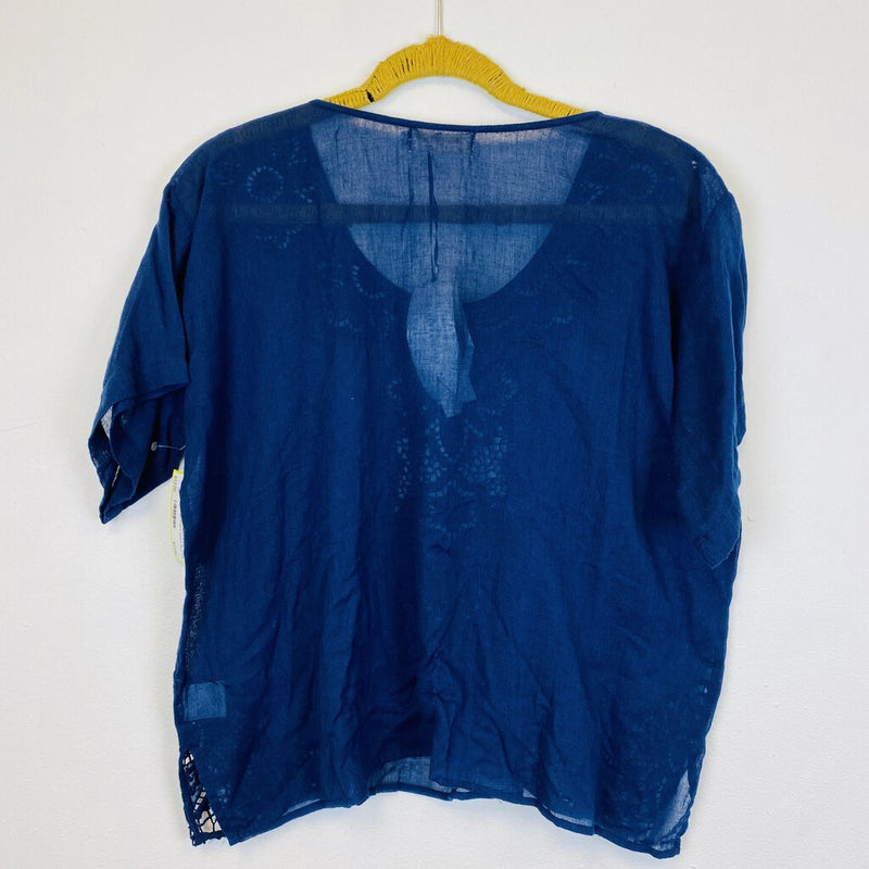 new with tags cotton gauze lace top