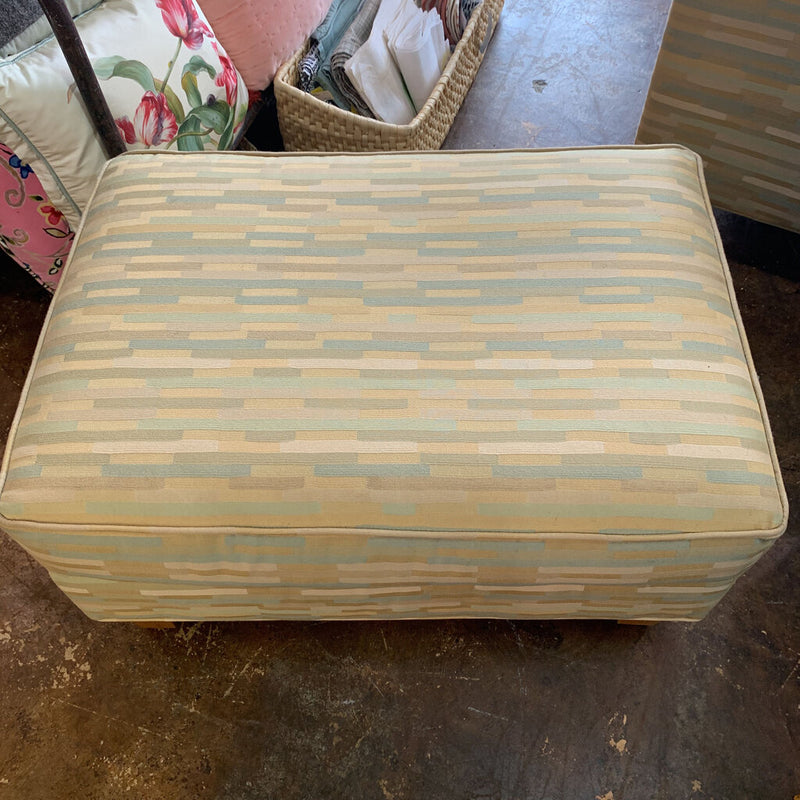 stacked stripe upholstered arm chair/ottoman