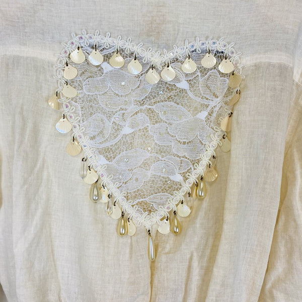 beaded sequined heart linen top