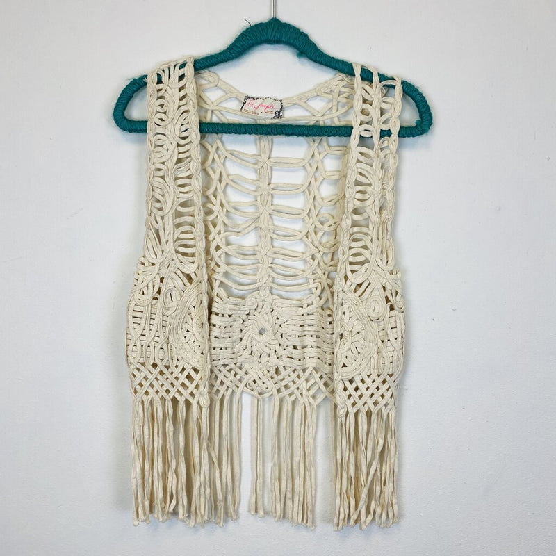 crocheted fringed vest