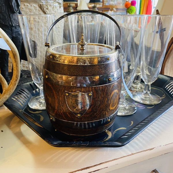 vintage wood and ceramic ice bucket