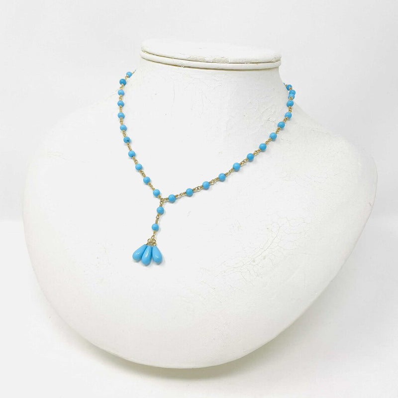 18k blue bead drop