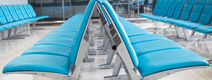 Blue Chairs in an airport