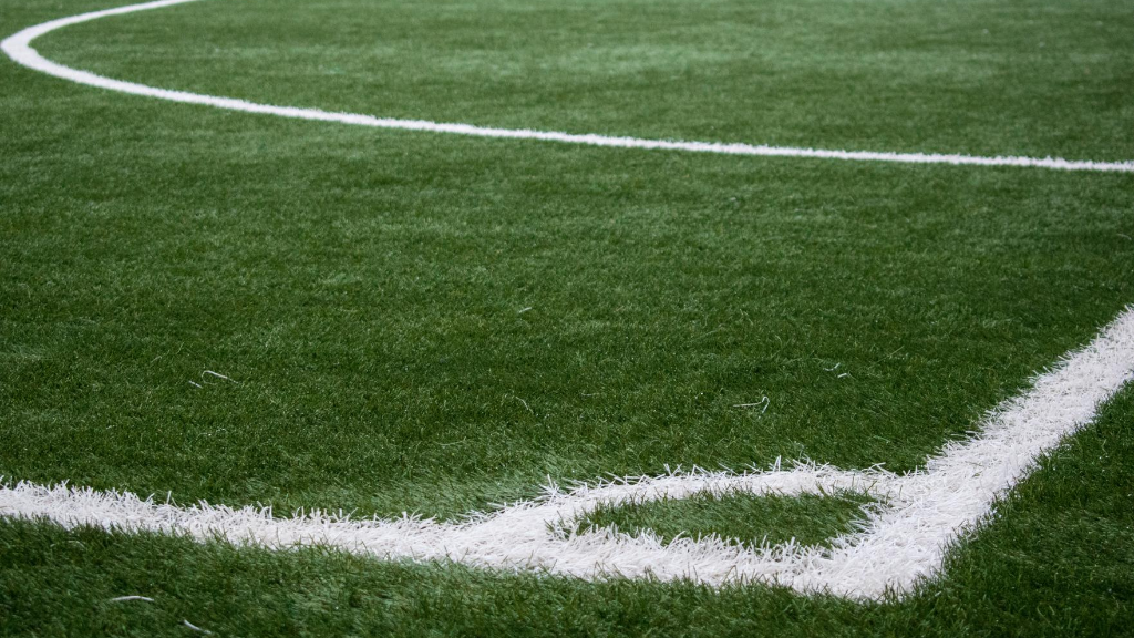 Close up image of a football field