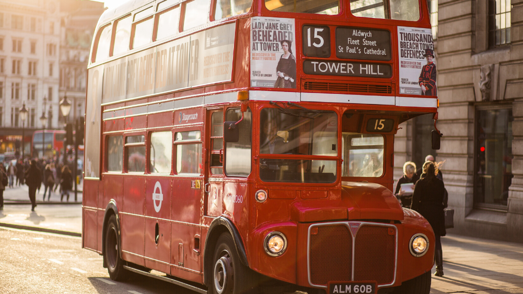 London bus on the road