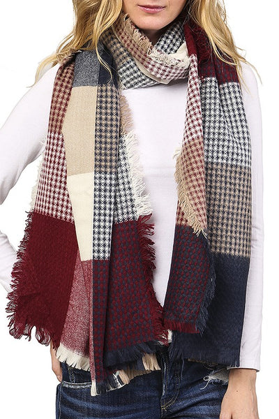 Checkered plaid knit scarf (3 styles)