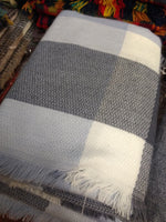 Blue and Grey plaid scarf