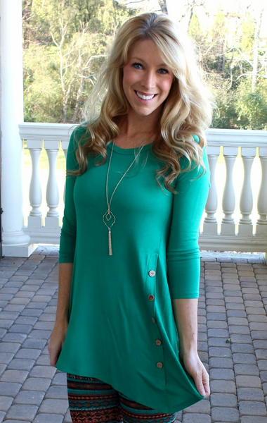 Make it a Great Day Kelly Green Button Top