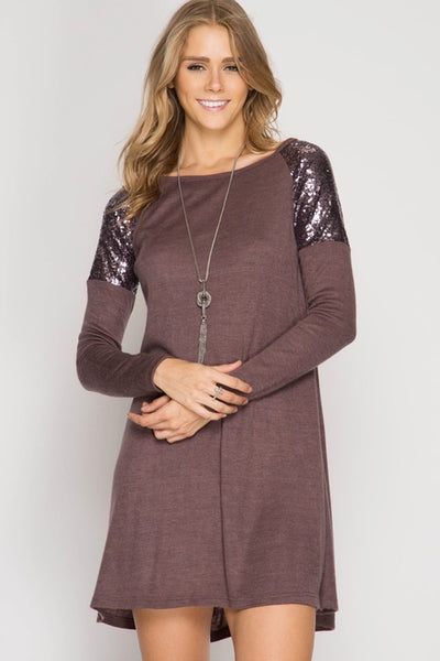 Shimmer and Shine Dress (Cocoa or Grey)