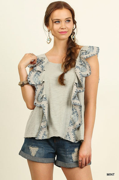 Mint Julep Ruffle Top