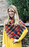Mustard, Navy and Red Plaid Scarf