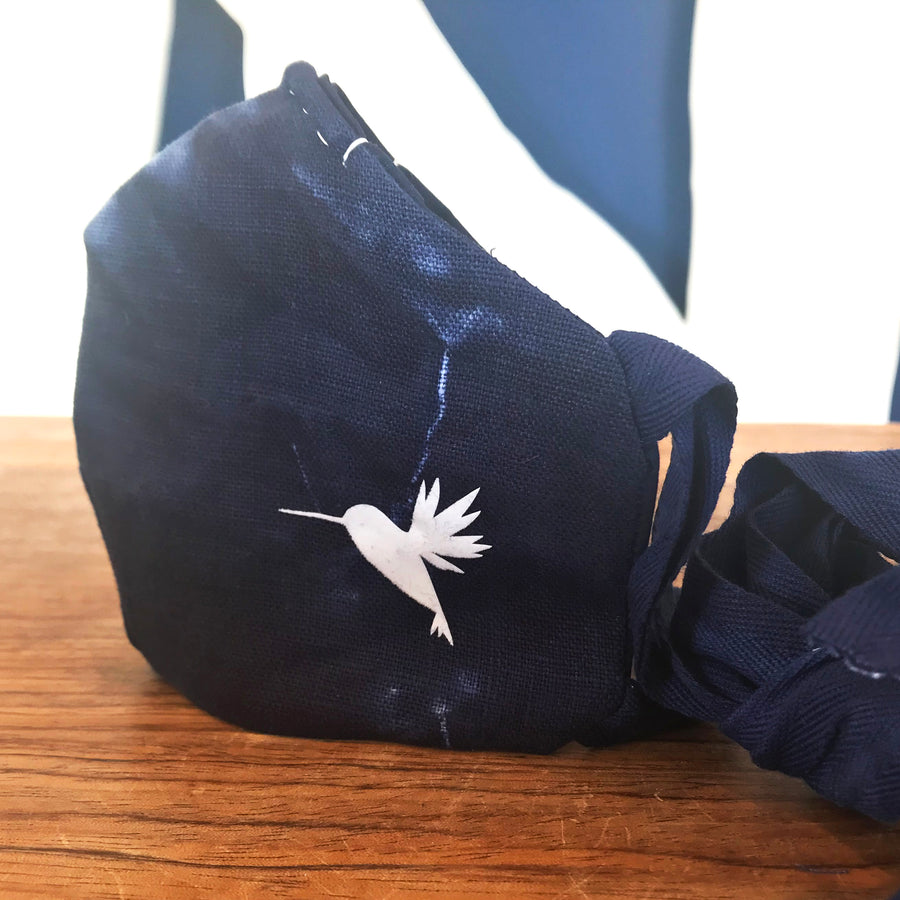 FACE MASK SHIBORI LINEN with cotton ties