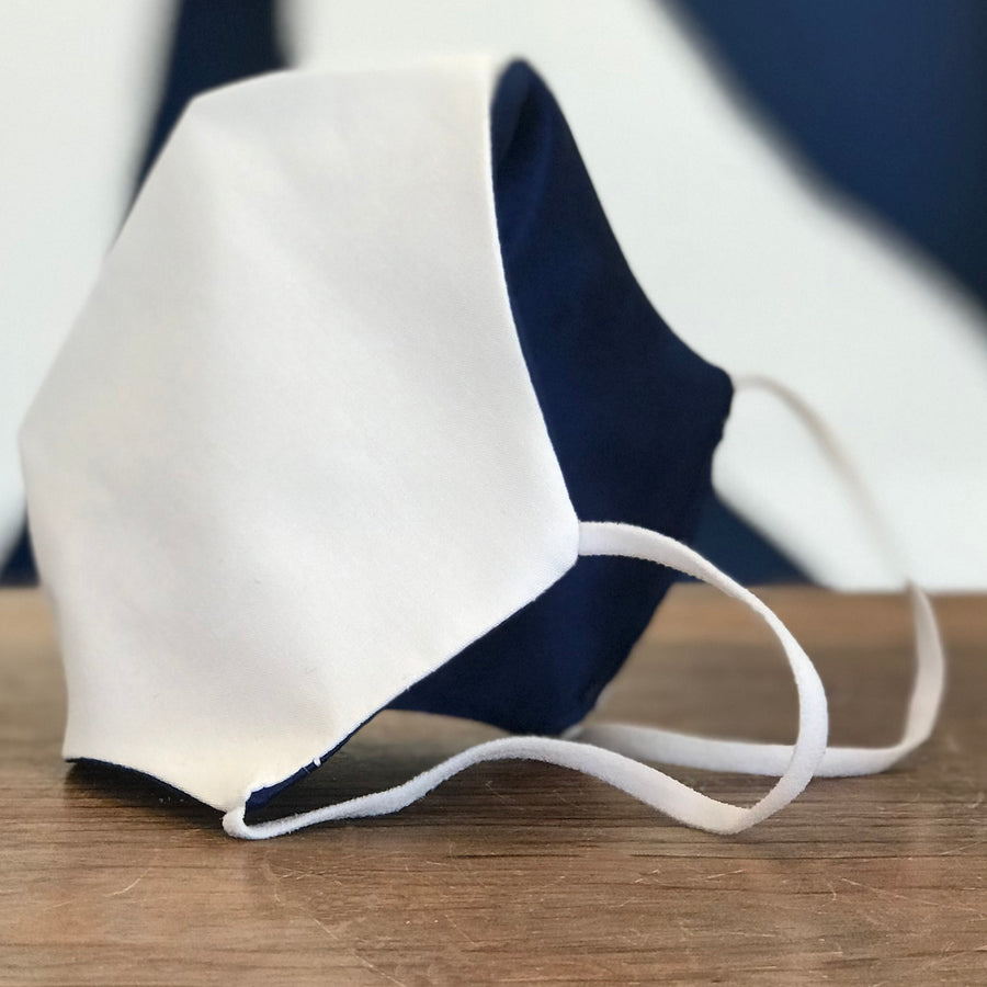 FACE MASK POPLIN & SILK WHITE with Elastic Ear Loops