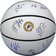 Indiana Pacers 2017-18 Team Autographed Signed White Panel Basketball Sabonis Turner Stephenson