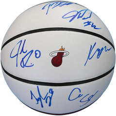 Miami Heat 2018-19 Team Autographed Signed White Panel Basketball - 8 Signatures