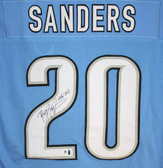 Barry Sanders Detroit Lions Signed Autographed Blue #20 Custom Jersey Global COA