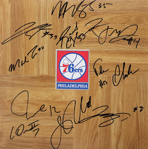 Philadelphia 76ers 2014-15 Team Signed Autographed Basketball Floorboard