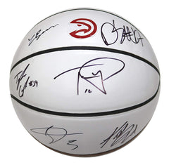 Atlanta Hawks 2017-18 Team Autographed Signed White Panel Basketball - 6 Autographs - Schroder Bazemore
