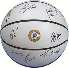 Indiana Pacers 2017-18 Team Autographed Signed White Panel Basketball Oladipo Turner Sabonis
