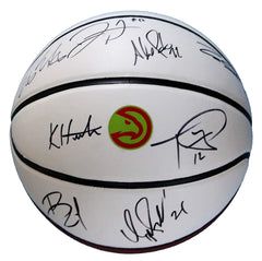 Atlanta Hawks 2018-19 Team Autographed Signed White Panel Basketball - 10 Autographs - Prince Bazemore Dominique Wilkins