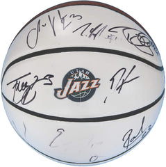 Utah Jazz 2015-16 Team Autographed Signed White Panel Basketball COA - 11 Autographs