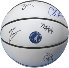 Minnesota Timberwolves 2017-18 Team Signed Autographed White Panel Basketball CAS COA - 7 Autographs