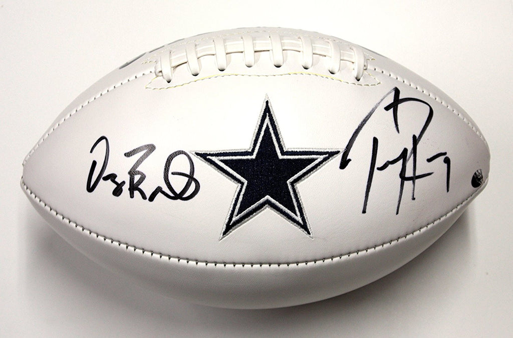 186974f9606 TONY ROMO AND DEZ BRYANT DALLAS COWBOYS SIGNED WHITE PANEL FOOTBALL ...