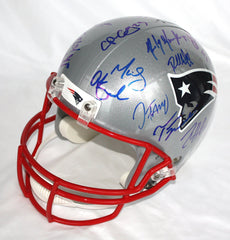 New England Patriots 2015-16 Team Signed Autographed Riddell Full Size Replica Helmet AI COA