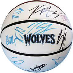 Minnesota Timberwolves 2015-16 Team Signed Autographed White Panel Basketball CAS COA Towns Wiggins Lavine Rubio