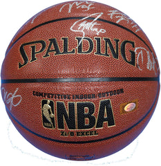 Golden State Warriors 2016-17 NBA Champions Team Autographed Signed Spalding NBA Basketball Silver Autos - Curry Durant Thompson Green
