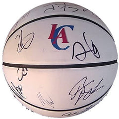 Los Angeles Clippers 2013-14 Team Autographed Signed White Panel Basketball Chris Paul Blake Griffin Jamal Crawford