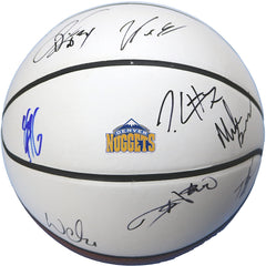Denver Nuggets 2017-18 Team Signed Autographed White Panel Basketball CAS COA - 11 Autographs