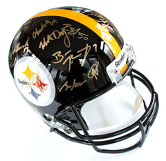 Pittsburgh Steelers 2016 Team Signed Autographed Riddell Full Size NFL Replica Helmet AI COA Roethlisberger Brown Bell