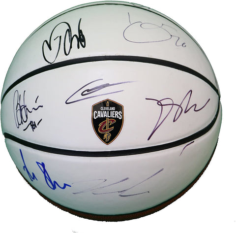 Cleveland Cavaliers 2017-18 Team Autographed Signed White Panel Basketball Rose Korver Crowder