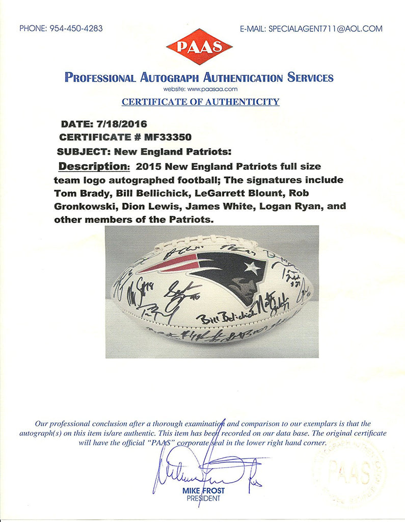 fccece41936 ... NEW ENGLAND PATRIOTS 2015 TEAM SIGNED AUTOGRAPHED LOGO FOOTBALL PAAS  COA BELICHICK BRADY GRONKOWSKI