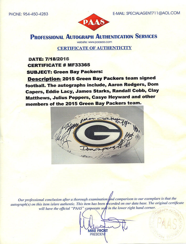 9699a5505df ... GREEN BAY PACKERS 2015 TEAM SIGNED AUTOGRAPHED WHITE PANEL LOGO  FOOTBALL PAAS COA RODGERS MATTHEWS COBB