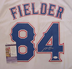 Prince Fielder Texas Rangers Signed Autographed White #84 Jersey JSA COA