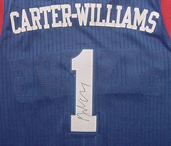 Michael Carter-Williams Philadelphia 76ers Signed Autographed Blue #1 Jersey Size L