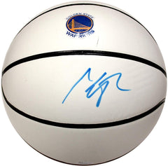 Klay Thompson Golden State Warriors Signed Autographed White Panel Basketball JSA COA Blue Auto