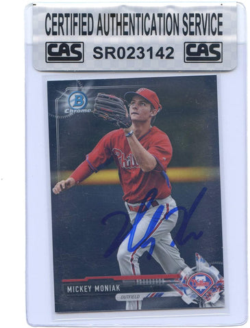 Mickey Moniak Philadelphia Phillies Signed Autographed 2017 Bowman Chrome Prospects #BCP135 Baseball Card CAS Certified