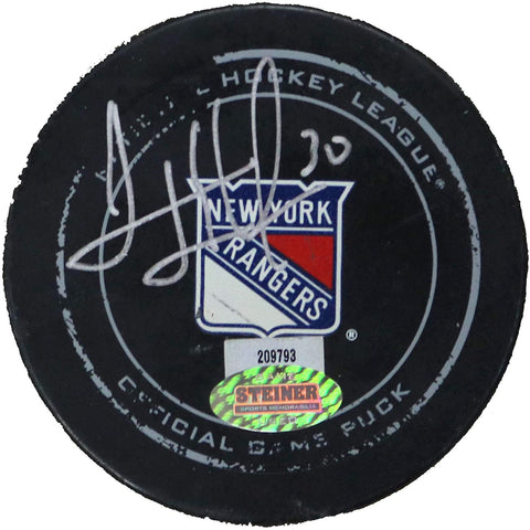 Henrik Lundqvist New York Rangers Signed Autographed 2014 Game Used NHL Hockey Puck Global COA with Display Holder