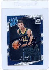 TJ Leaf Indiana Pacers Signed Autographed 2017-18 Donruss Optic Rated Rookie #183 Basketball Card