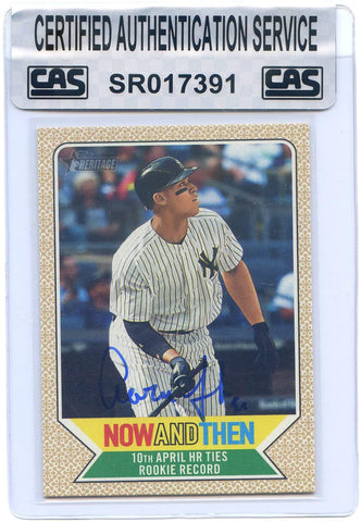 Aaron Judge New York Yankees Signed Autographed 2017 Topps Heritage Now and Then #NT10 Baseball Card CAS Certified