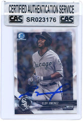 Eloy Jimenez Chicago White Sox Signed Autographed 2018 Bowman Chrome Prospects #BCP50 Baseball Card CAS Certified