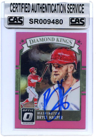 Bryce Harper Washington Nationals Signed Autographed 2016 Donruss Diamond Kings Pink Border #30 Baseball Card CAS Certified