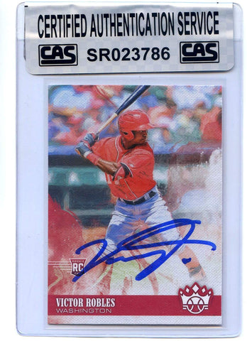 Victor Robles Washington Nationals Signed Autographed 2018 Panini Diamond Kings #100 Rookie Baseball Card CAS Certified