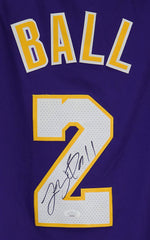 Lonzo Ball Los Angeles Lakers Signed Autographed Purple #2 Jersey JSA COA